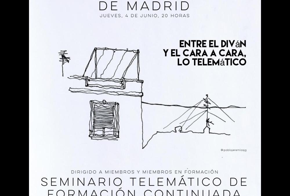 Seminario telemático: Entre el diván y el cara a cara, lo telemático.